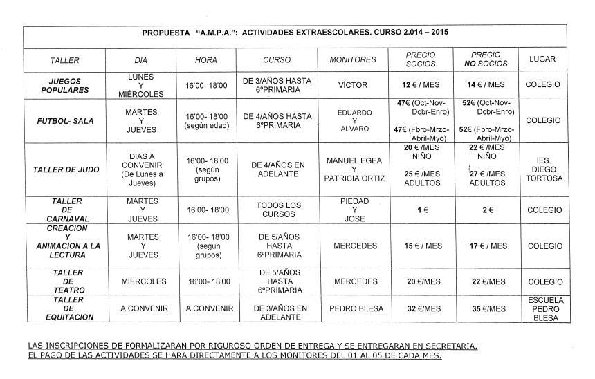 Act extraescolares14-15